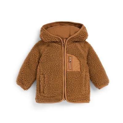 Baby Boy Brown Teddy Zip Up Jacket