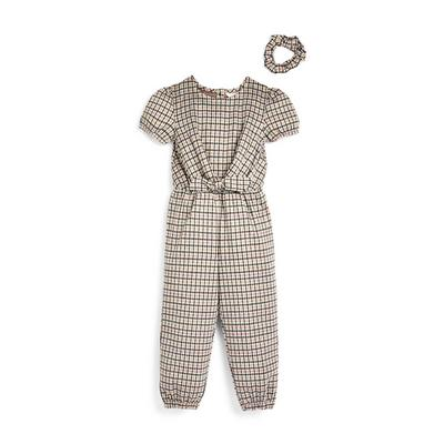 Younger Girl Multi Check Puffed Sleeve Jumpsuit 2-Piece Set
