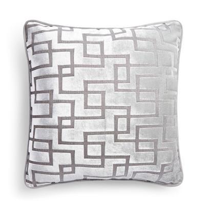 Capa almofada padrão linhas prateado