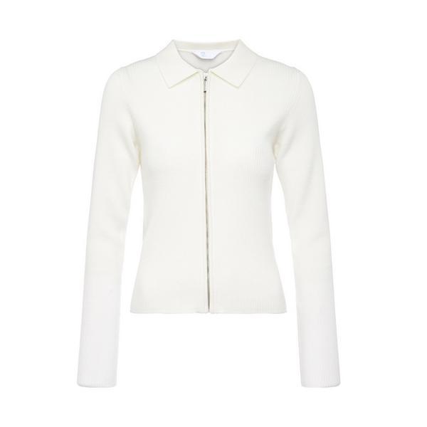 White Zip Through Cardigan