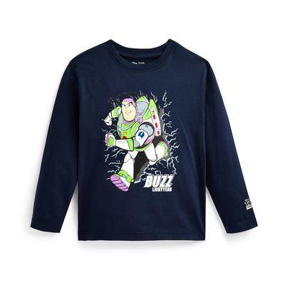 Younger Boy Navy Toy Story Buzz Print Long Sleeve T-Shirt