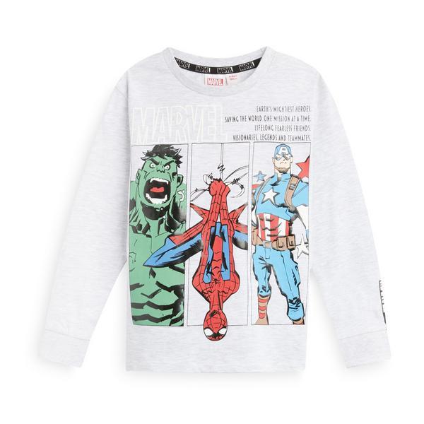 T-shirt à manches longues et imprimé personnages Marvel garçon