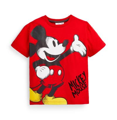 T-shirt graffiti Disney Mickey Mouse menino vermelho