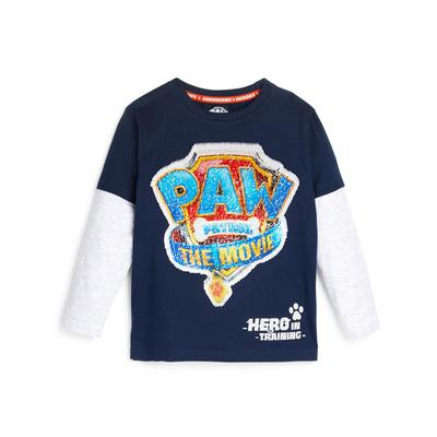 Younger Boy Navy Sequin Paw Patrol Movie Long Sleeve T-Shirt