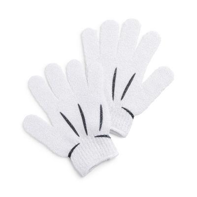 White Disney Mickey Mouse Exfoliating Gloves