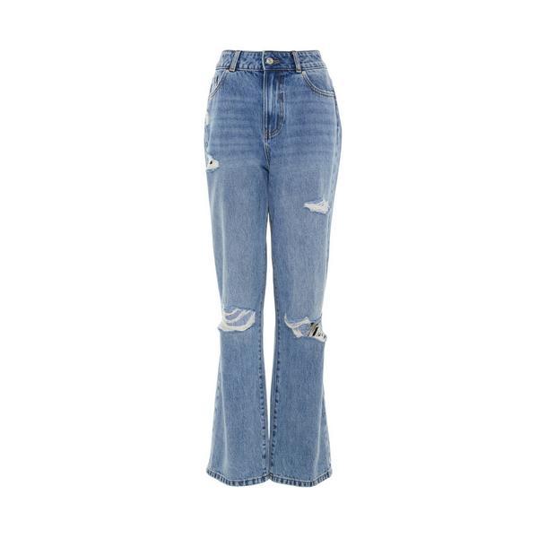 Primark Cares Blue Wash Denim 90's Ripped Wide Leg Jeans