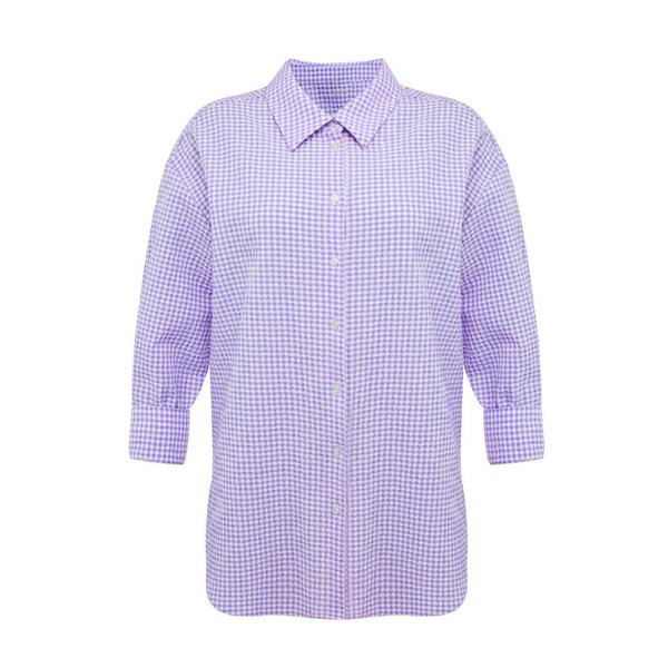 Paars geruit overhemd