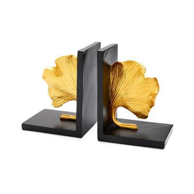 Goldtone Ginko Leaf Book Ends