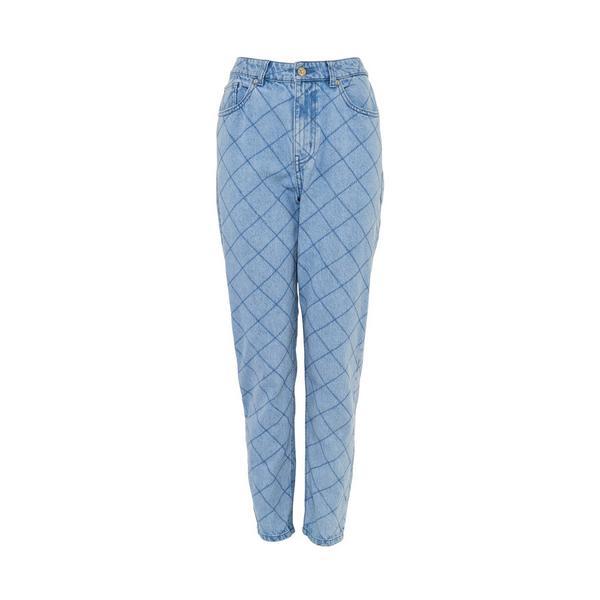 Blaue, gesteppte Jeans aus Denim