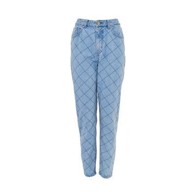 Jeans trapuntati in denim blu