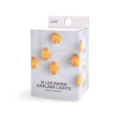 Beigefarbene, batteriebetriebene 10-LED-Lichterkette mit Papierlaternen