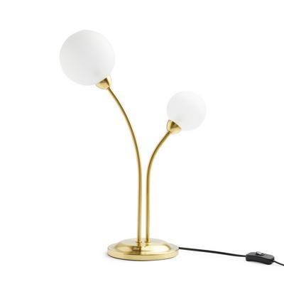 Goldtone Double Bulb Table Lamp