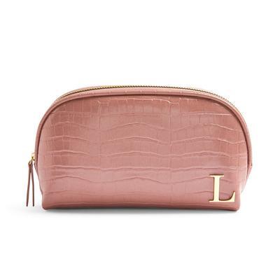 Rožnata torbica za ličila iz umetne krokodilje kože