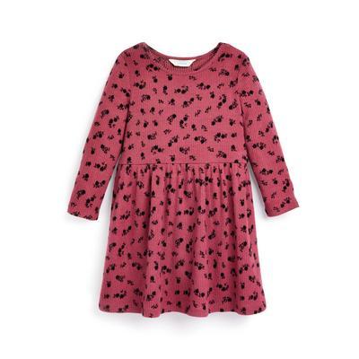 Rosafarbenes Jerseykleid mit Blumenmuster (kleine Mädchen)