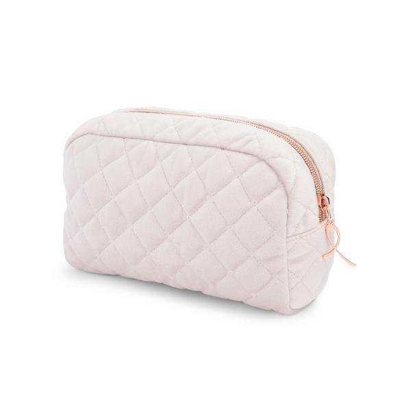 Pink Quilted Velvet Make-Up Bag