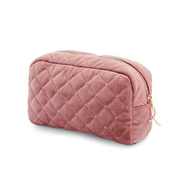 Dusky Pink Quilted Velvet Make-Up Bag