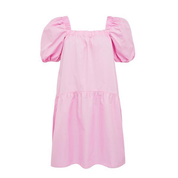 Rožnata pastelna mini obleka z oglatim ovratnikom iz poplina
