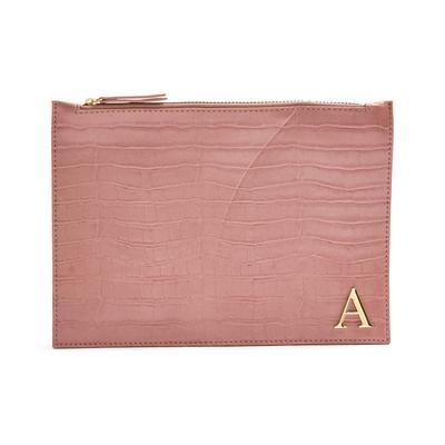 Izjemno velika rožnata torbica z začetnico iz umetne krokodilje kože
