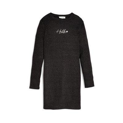 Older Girl Charcoal Jersey Embroidered Dress