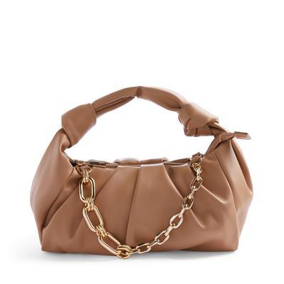Tan Puffy Faux Leather Chain Crossbody Bag