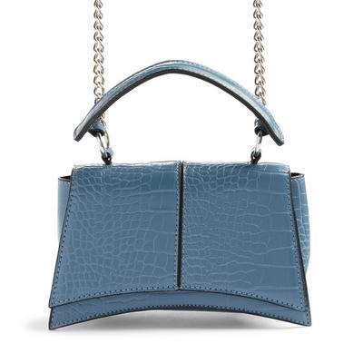 Blue Top Handle Curved Faux Crocodile Crossbody Bag