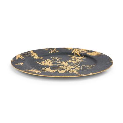 Black Gold Leaf Print Charger Plate