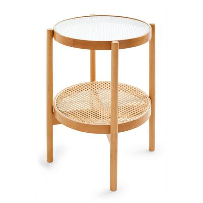 Beige Natural Rattan Glass Topped Side Table