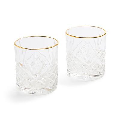 Short Goldtone Rim Whiskey Glasses 2 Pack
