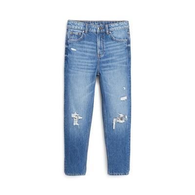 Older Girl Blue Ripped Mom Jeans