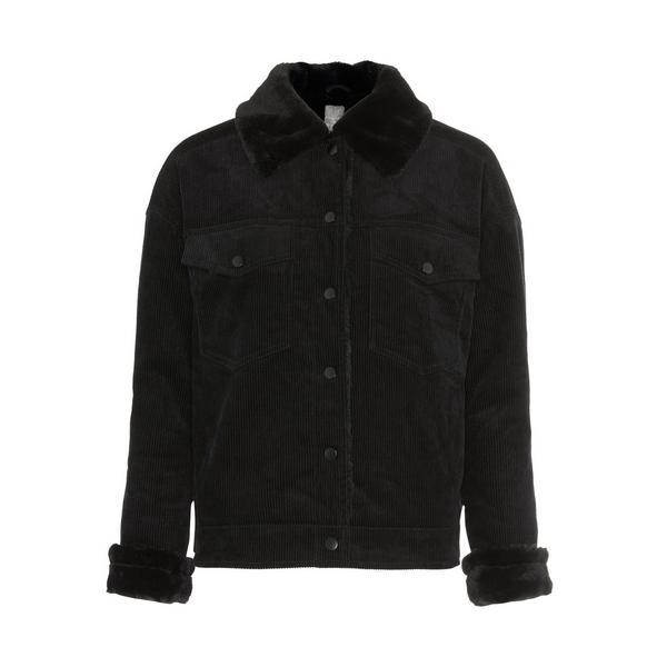 Primark Cares Black Faux Fur Corduroy Jacket