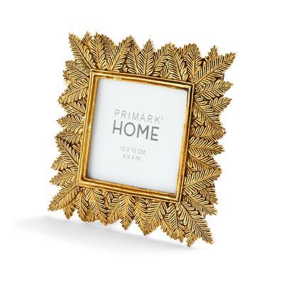 Goldtone Leaf Detail Square Photo Frame