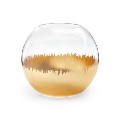Glass Goldtone Base Round Vase