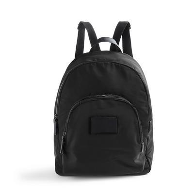Black Nylon Curved Backpack