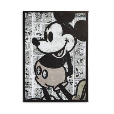 Disney Mickey Mouse Monochrome Comic Print Wall Art Canvas 70x50cm
