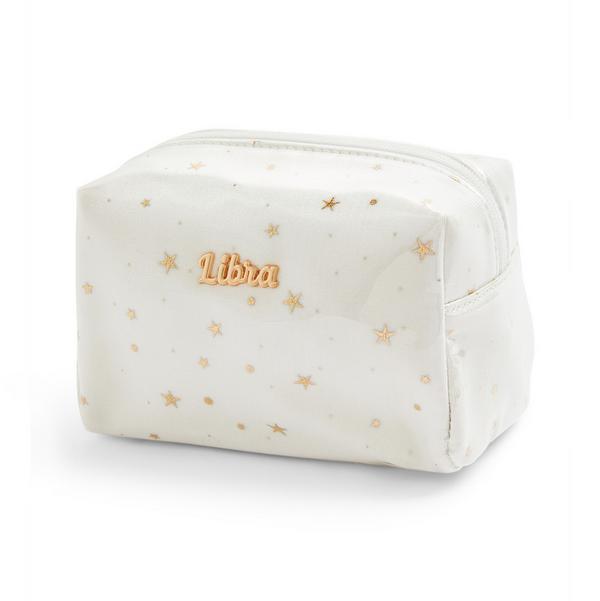 Trousse de maquillage blanche en plexiglas à motif horoscope Libra