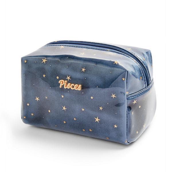 Trousse de maquillage bleu marine en plexiglas à motif horoscope Pisces