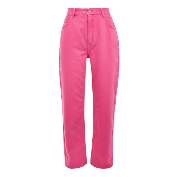 Hot Pink Colour Block Wide Leg Jeans