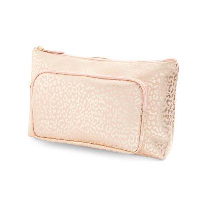 Toaletna torbica s kovinsko rožnato zlatim živalskim potiskom 2 v 1