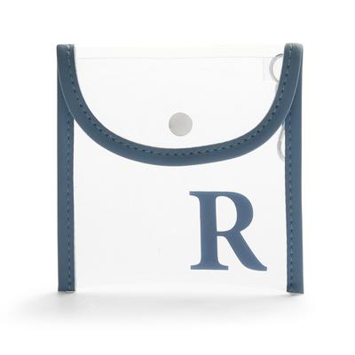 Clear Perspex Initial Clip On Flapover Mask Pouch