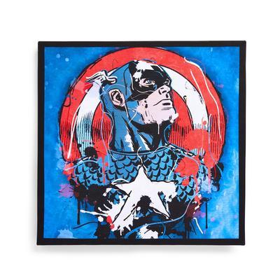 Blauwe canvas Marvel Captain America-muurdecoratie , 30x30 cm