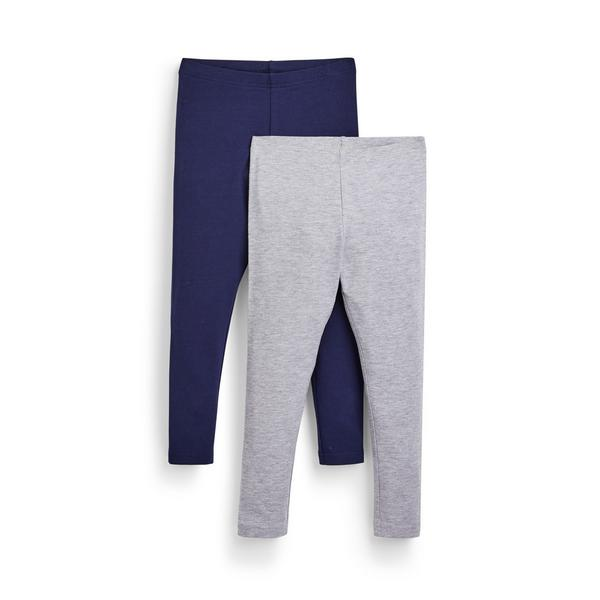 Younger Girl Navy And Grey Leggings 2 Pack