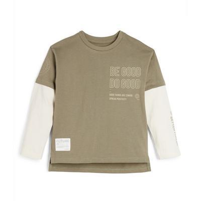 Younger Boy Khaki Print Long Sleeve T-Shirt