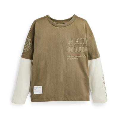 Younger Boy Olive Printed Long Sleeve T-Shirt