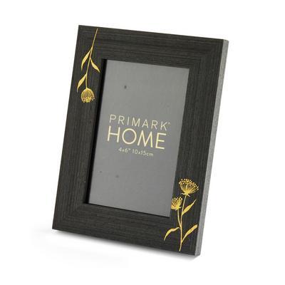Cadre photo noir et doré à imprimé floral