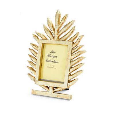 Goldtone Leaf Shape Photo Frame