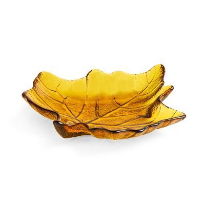 Amber Glass Leaf Shaped Dish