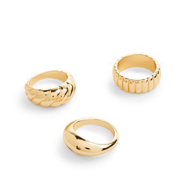 Breite klassische Ringe in Gold, 3er-Pack