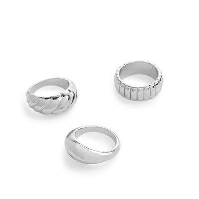 Breite klassische Ringe in Silber, 3er-Pack
