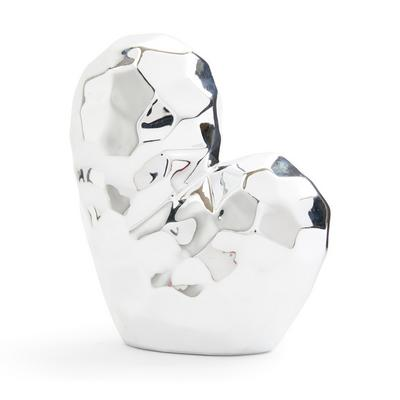 Silver Abstract Heart Ornament