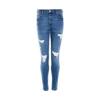 Jean skinny bleu en jean très déchiré